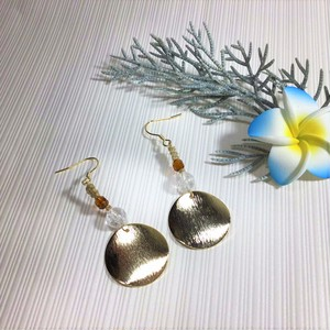 Gold Plate Earrings【ゴールドプレート&クラッククリスタル】ハンドメイド アジアン 冬 ゆれる 大きめピアス 天然石