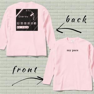 両面プリントロングスリーブTシャツ【my pace】ライトピンク