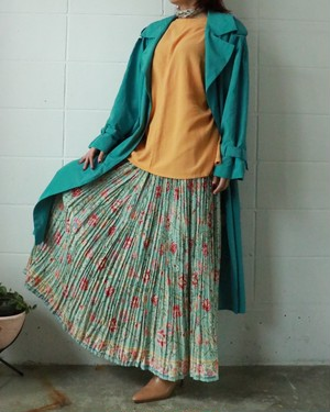 turquoise blue floral pleated skirt
