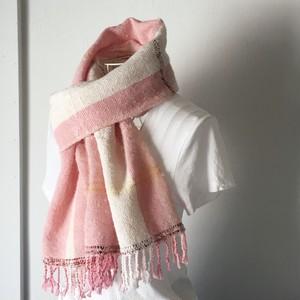 """【ベビーアルパカ&綿:オールシーズン】ユニセックス:手織りストール """"Pink & White 2"""""""