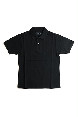《Made in France》オリジナル 半袖 鹿の子ポロシャツ 2つ釦 〈ブラック〉