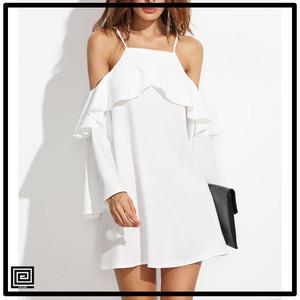 【即納・SALE】ホワイトフリルトリムコールドショルダードレス