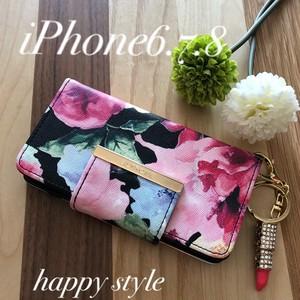 水彩花柄 iPhone6.7.8共通手帳型ケース✨きらきらリップホルダー付き