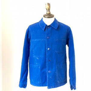 1970s French Work Jacket Cotton Twill L/Blue
