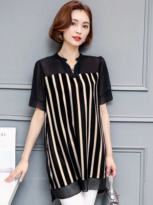 【tops】V-neck short sleeve striped pattern tunic