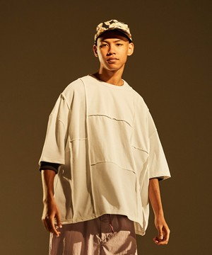 Patchwork Wide Silhouette Tee -white <LSD-BJ1T7>