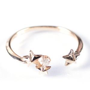 K10YGとダイヤモンドのトゥインクルスターフォークリング