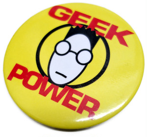 """80s 缶バッジ """"GEEK POWER"""" ヴィンテージ"""