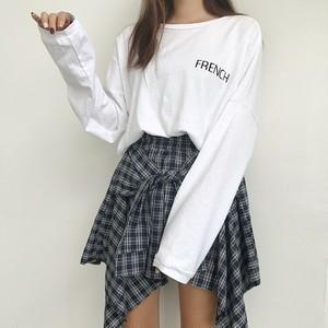 【セットアップ】2点セット韓国風ルーズアルファベットTシャツ不規則スカート