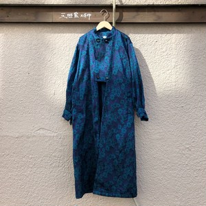Open hem long jacket カラー: flower jacquard blue