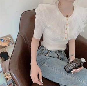 tulle collar tops 2color