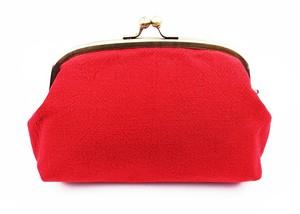 安曇野木綿の手作りがま口 5.5寸クシ型 紅色/鳥獣戯画金蘭クリーム amhg55btkk-1910