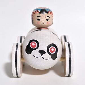 パンダ車こけし 約3寸 約10cm 林貴俊 工人(石巻こけし)#0089