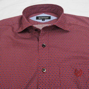 HORIZONTAL COLLAR L/S SHIRT  ダイヤ柄 WINE RED