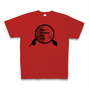 """No Drums No Life""Tシャツ(レッド)"