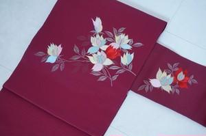 洗える名古屋帯 刺繍 花柄 ポリエステル えんじ色 リユース 025