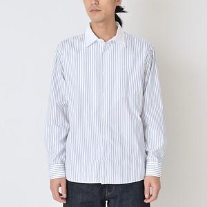 クレリックカラーシャツ ホワイト x ブルーストライプ