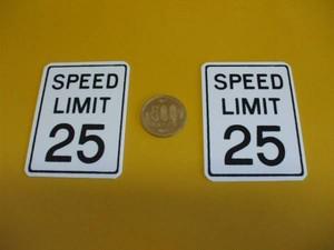 USミニ交通標識「SPEED LIMIT 25」(2枚セット)屋外可・送料無料