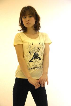 HALKAデザイン さわやかTシャツ・レディース(YE)