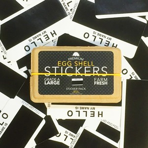 EGGSHELL STICKERS HELLO MY NAME IS WHITE & BLACK BLANKS - 80pcs