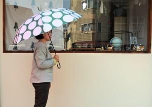 雨傘(水玉・緑色)