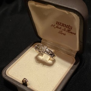 HERMES Silver Belt Motif Ring