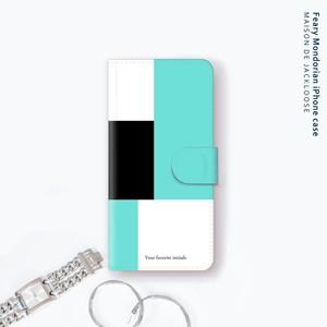 シンプル モンドリアン・お名前入れ【iPhone Androidスマホケース・全機種対応 専用カメラホール】
