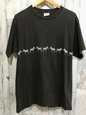 アメリカ製ビンテージシマウマ柄Tシャツ馬動物アニマル