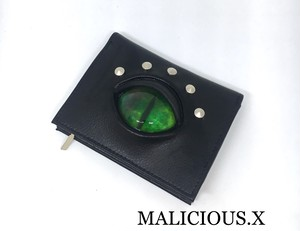 cat eye folding wallet / green