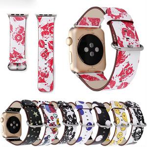 個性派 ポップ カラフル アップルウォッチ 替えベルト バンド スマイルマーク スター スカル ドット ★Apple Watch belt 38mm/42mm ★ [NW505]