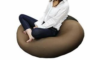 ぷにゅっ シッカリの快適ビーズクッション 奥行70cmの特大 伸びる生地の向きでくつろぎ方さまざま。