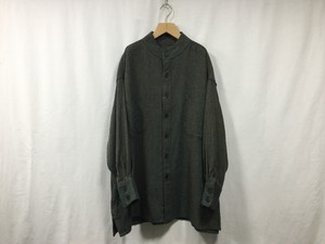 "HOMELESS TAILOR""STAND COLLAR SHIRT MIX GREEN"""