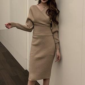 【セットアップ】レディースファッションVネックニットセーター+スカート気質アップ二点セット25371523