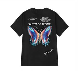 メンズ蝶プリントTシャツ。半袖タイプおしゃれユニセックスアイテムブラック/ホワイト2カラー