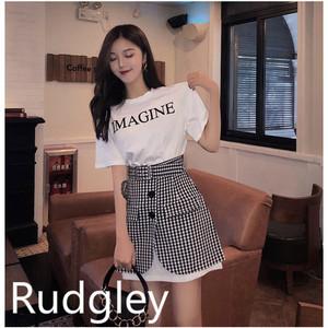 【上下別売り】ロングTシャツトップス チェックボタンスカート コーデ