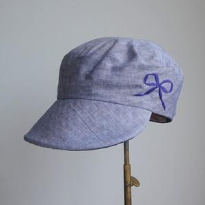 大きなブリムの定番キャスケット/青タンガリーにりぼん刺繍   NO.961