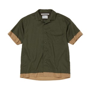 OPEN COLLAR HALF SLEEVES SHIRT -KHAKI
