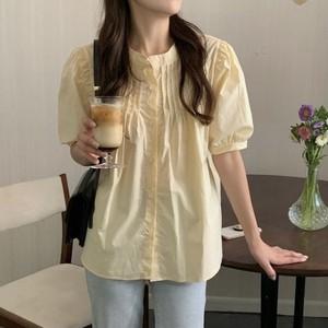 ラウンドネックシンプルプリーツシャツ U5942
