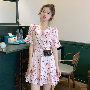 【ワンピース】ファッションすがすがしいスリムカジュアル花柄ワンピース19375246