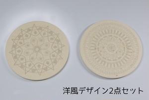 美濃焼 珪藻土 彫刻 吸水コースター 洋風デザイン2点セット 日本製 レーザー彫刻