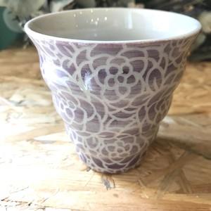 【nicorico 林 理子】 紋花彩泥掻落 naminami cup(紫)