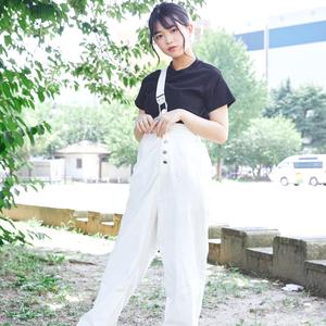 【水上凜巳花】ワンショルホワイトオーバーオール D1407