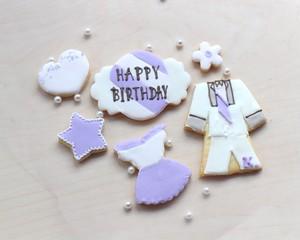 「お誕生日」6-7枚フルオーダーアイシングクッキー