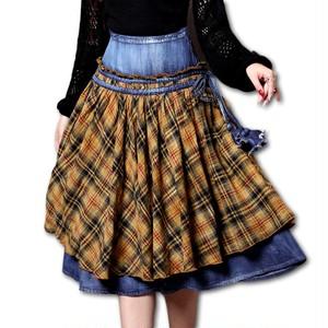 デニム タータンチェック スカート Z421
