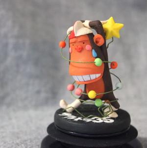 樹脂粘土人形/星ガーラントからまりサル(台黒)