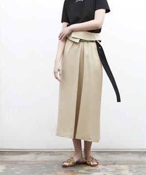 ウエストレイヤーデザインスカート(ベージュ)