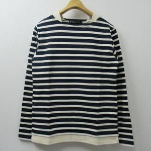 Unisex Audience レイヤードボーダーバスクシャツ  COL,NAVY×NATURAL
