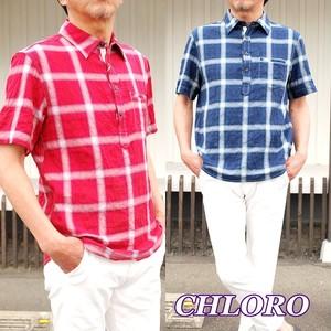 CHLORO クロロ 半袖 シャツ メンズ シャツ チェック柄 C6560 プルオーバーシャツ