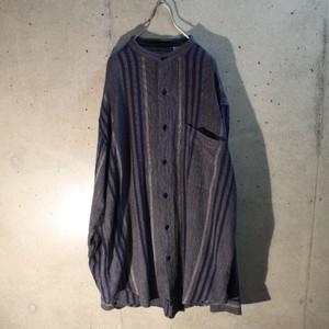 Long sleeve cotton band collar shirt
