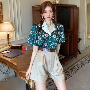 【セット】「単品注文」レトロ小柄半袖シングルブレスト折り襟シャツ+ショートパンツ29305240